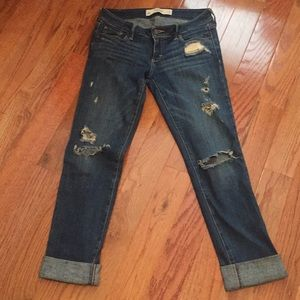 Abercrombie distressed jeans with rolled cuff hem